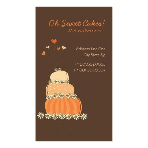 Whimsical Sweet Peach Orange Wedding Birthday Cake Business Card Templates