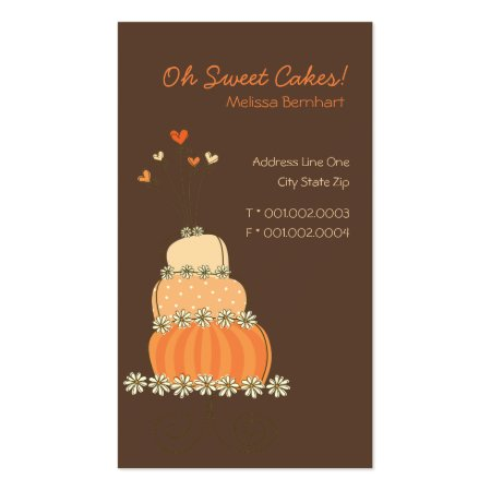 Chocolate Brown Background Cute Sweet Whimsical Orange Cake Shop Business Cards