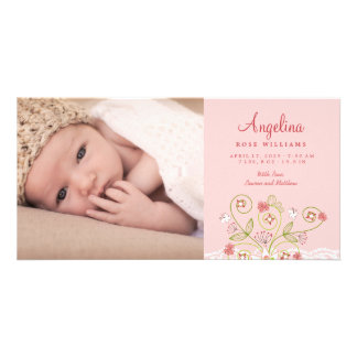 Whimsical Sweet Pink Blooms Baby Girl Announcement