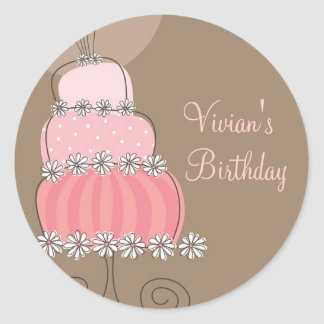Whimsical Sweet Pink Cake Birthday Party Sticker
