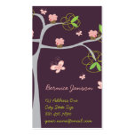 Whimsical Sweet Pink Cupcakes on Tree Butterfly Business Card