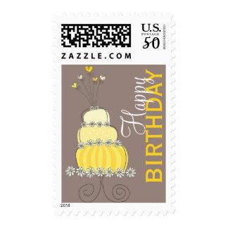Whimsical Sweet Yellow Cake Birthday Custom Stamps