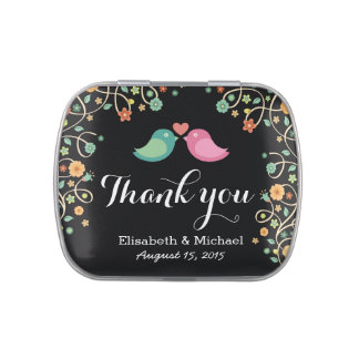 Whimsical Swirl Floral Love Birds Thank You Candy Tins