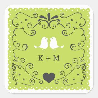 Whimsical Swirls & Lovebirds (Lime) Favor Stickers