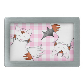 Whimsical tabby cats on pink gingham belt buckle
