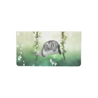 Whimsical tabby kitten checkbook cover