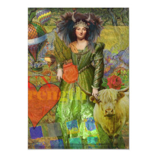 Whimsical Taurus Woman Celestial Collage Fantasy Magnetic Card