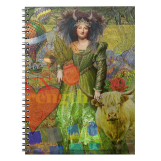 Whimsical Taurus Woman Celestial Collage Fantasy Spiral Notebook