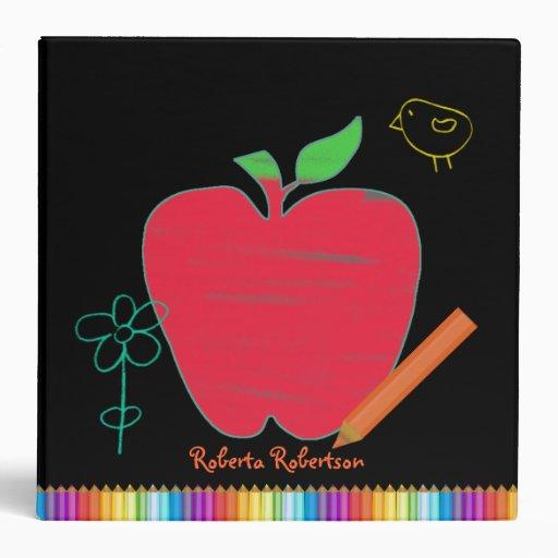 Whimsical Teacher's Doodles Organizer Vinyl Binder