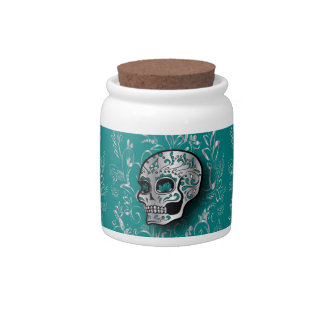 Whimsical Teal and Silver Sugar Skull Candy Jars