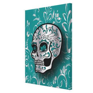 Whimsical Teal and Silver Sugar Skull Canvas Print