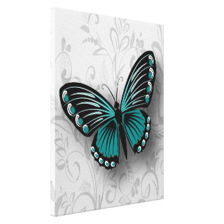 Whimsical Teal Butterfly on Gray Floral Canvas Print