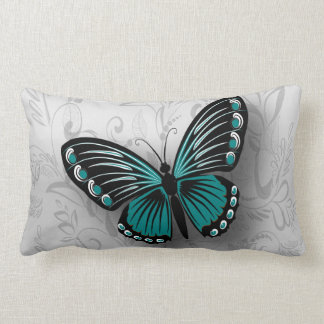 Whimsical Teal Butterfly on Gray Floral Pillow