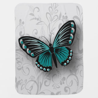Whimsical Teal Butterfly on Gray Floral Receiving Blanket