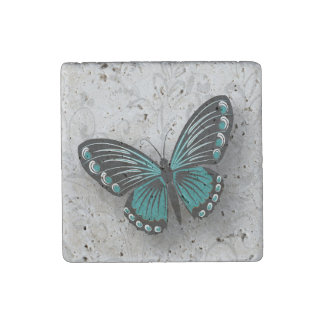 Whimsical Teal Butterfly on Gray Floral Stone Magnet