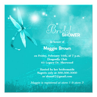 Whimsical Teal Dragonfly Bridal Shower Invitations