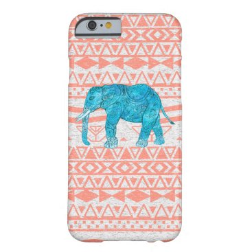Aztec Themed Whimsical Teal Paisley Elephant Pink Aztec Pattern Barely There iPhone 6 Case