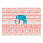 Whimsical Teal Paisley Elephant Pink Aztec Pattern Large Business Cards (Pack Of 100)