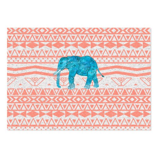 Whimsical Teal Paisley Elephant Pink Aztec Pattern Business Cards
