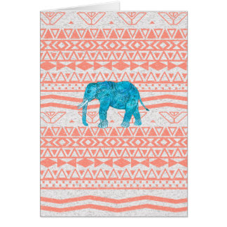 Whimsical Teal Paisley Elephant Pink Aztec Pattern Card
