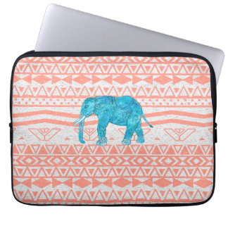 Whimsical Teal Paisley Elephant Pink Aztec Pattern Computer Sleeve