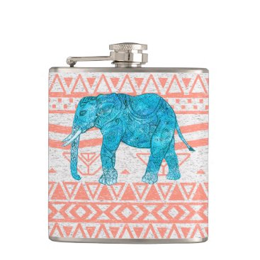 Aztec Themed Whimsical Teal Paisley Elephant Pink Aztec Pattern Hip Flask