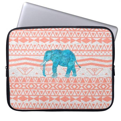 Whimsical Teal Paisley Elephant Pink Aztec Pattern Laptop Sleeve