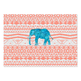 Whimsical Teal Paisley Elephant Pink Aztec Pattern Large Business Card
