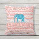 Whimsical Teal Paisley Elephant Pink Aztec Pattern Outdoor Pillow