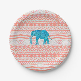 Whimsical Teal Paisley Elephant Pink Aztec Pattern Paper Plate