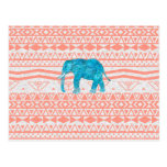 Whimsical Teal Paisley Elephant Pink Aztec Pattern Post Card