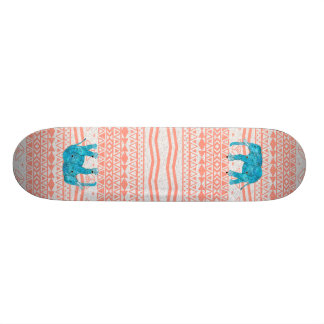 Whimsical Teal Paisley Elephant Pink Aztec Pattern Skate Boards