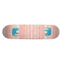 Whimsical Teal Paisley Elephant Pink Aztec Pattern Skateboard Deck
