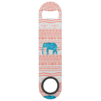 Whimsical Teal Paisley Elephant Pink Aztec Pattern Speed Bottle Opener