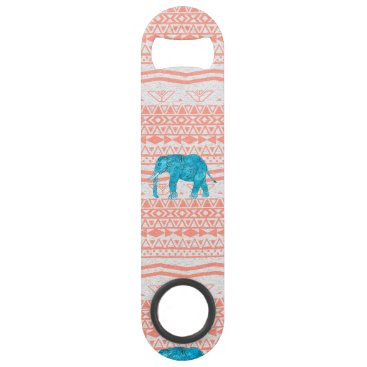 Aztec Themed Whimsical Teal Paisley Elephant Pink Aztec Pattern Speed Bottle Opener