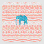 Whimsical Teal Paisley Elephant Pink Aztec Pattern Square Sticker