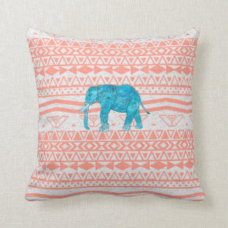 Whimsical Teal Paisley Elephant Pink Aztec Pattern Throw Pillow