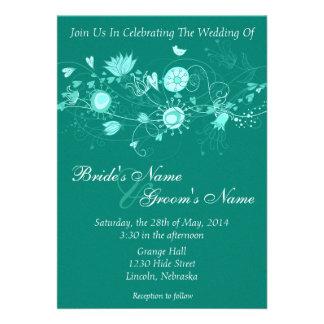 Whimsical Teal Wedding Invite