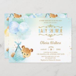 Cute Boy Baby Shower Teddy Bear Cub Invitation
