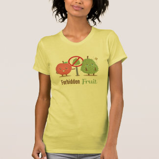 Whimsical The Forbidden Fruit Apple and Durian T Shirts