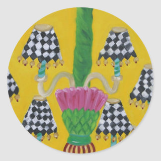 Whimsical Thistle Chandelier Classic Round Sticker