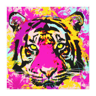 Whimsical tiger,Digital painting, Canvas Print