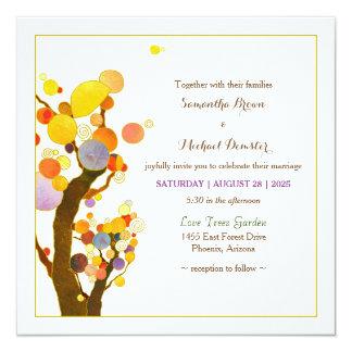 Whimsical Tree Art Boho Wedding Card