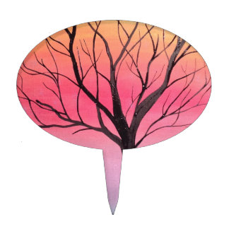 Whimsical tree art. cake topper