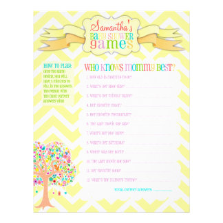 """Whimsical Tree """"Baby Shower Games"""" Activity Sheet Full Color Flyer"""