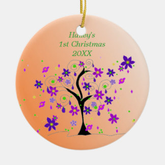 Whimsical Tree Baby's 1st Christmas Ceramic Ornament