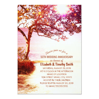 Whimsical Tree Beach Wedding Anniversary Party Card