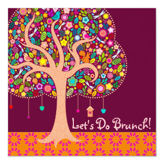 Whimsical Tree - Custom Square Invitations