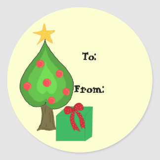 Whimsical Tree Gift Tag Round Sticker