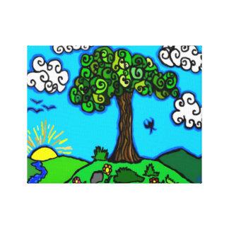 Whimsical Tree Illustration Canvas Print